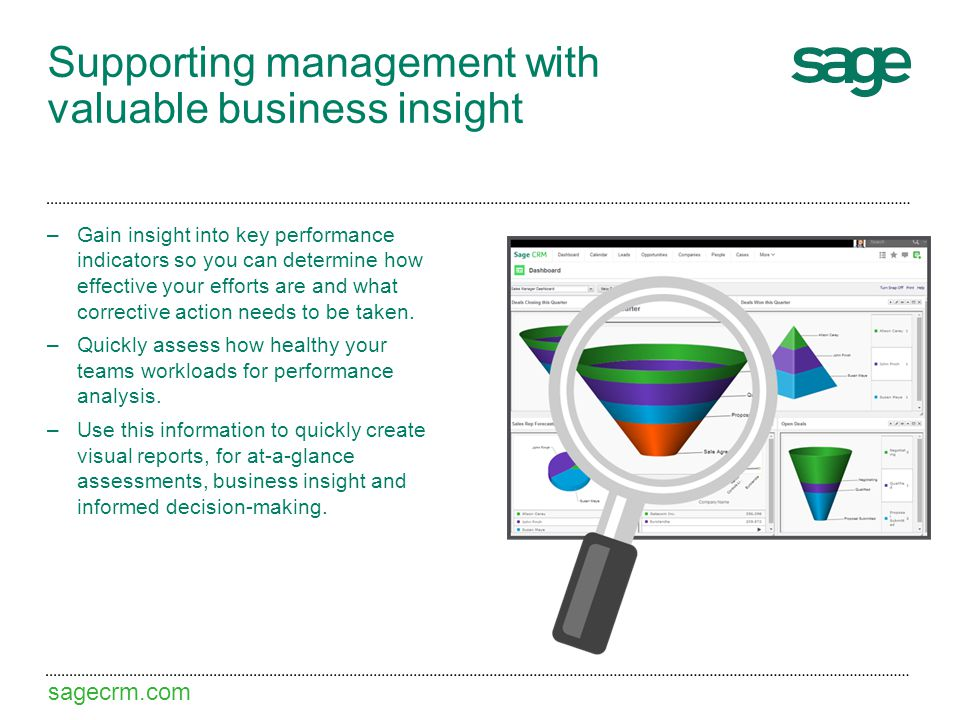 sagecrm.com Supporting management with valuable business insight –Gain insight into key performance indicators so you can determine how effective your efforts are and what corrective action needs to be taken.