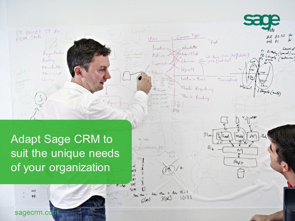 sagecrm.com Adapt Sage CRM to suit the unique needs of your organization