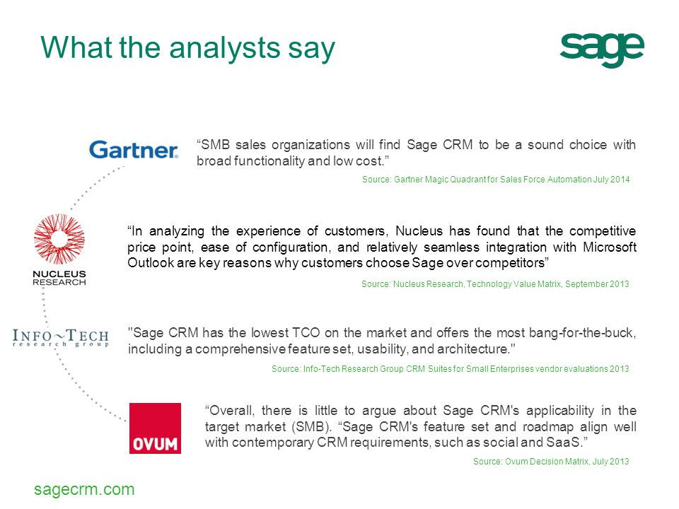 """sagecrm.com """"In analyzing the experience of customers, Nucleus has found that the competitive price point, ease of configuration, and relatively seaml"""
