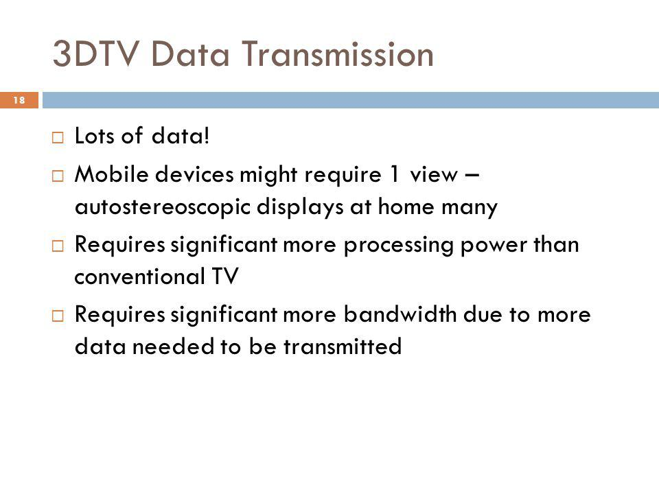 3DTV Data Transmission  Lots of data.