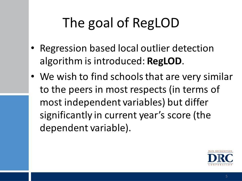 Grade 4 Reading: Comparison of Local and global outlier detection RegLODStatistical Methods (global outlier detection) Num Peer N P- value SS 1 PL 1 Reg 1 Rasch 1 WR 1 SSCo 1 StdRes 2 13 - 3.31.19.90.04.911.43.12 29 - 9.34.61.41.00.213.81.09 3930.0006.43.51.10.0 6.73.02 4570.0004.64.08.10.02.817.42.41 56 - 0.92.68.80.0 7.10.64 63 - 3.92.20.0 20.816.81.83 74240.0055.21.011.01.60.08.43.91 83120.0061.51.19.70.32.47.23.61 93800.0089.14.611.80.14.45.04.19 101190.0082.42.28.70.60.01.13.49 114350.0092.81.18.00.0 5.03.34 121470.0146.44.54.90.04.03.24.14 131120.0180.11.116.90.02.26.81.68 144180.0194.23.114.30.0 4.72.23 15520.0191.10.48.60.02.53.02.77 16