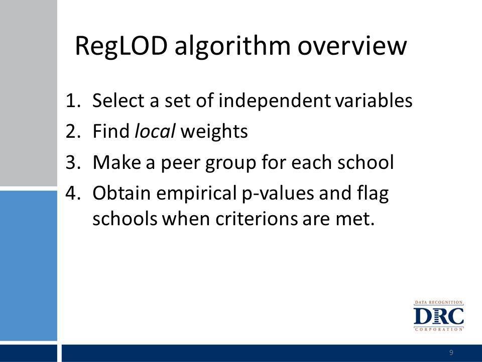 RegLOD Example: Grade 4 Reading 10 Step 1.