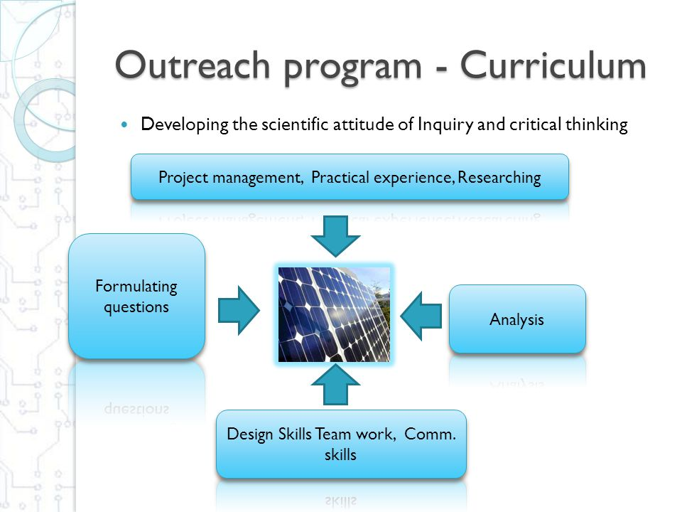 Outreach program - Curriculum Developing the scientific attitude of Inquiry and critical thinking