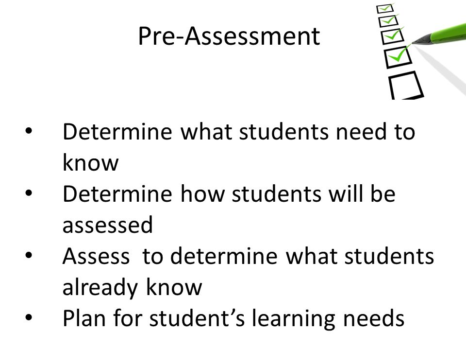 Pre-Assessment Determine what students need to know Determine how students will be assessed Assess to determine what students already know Plan for student's learning needs