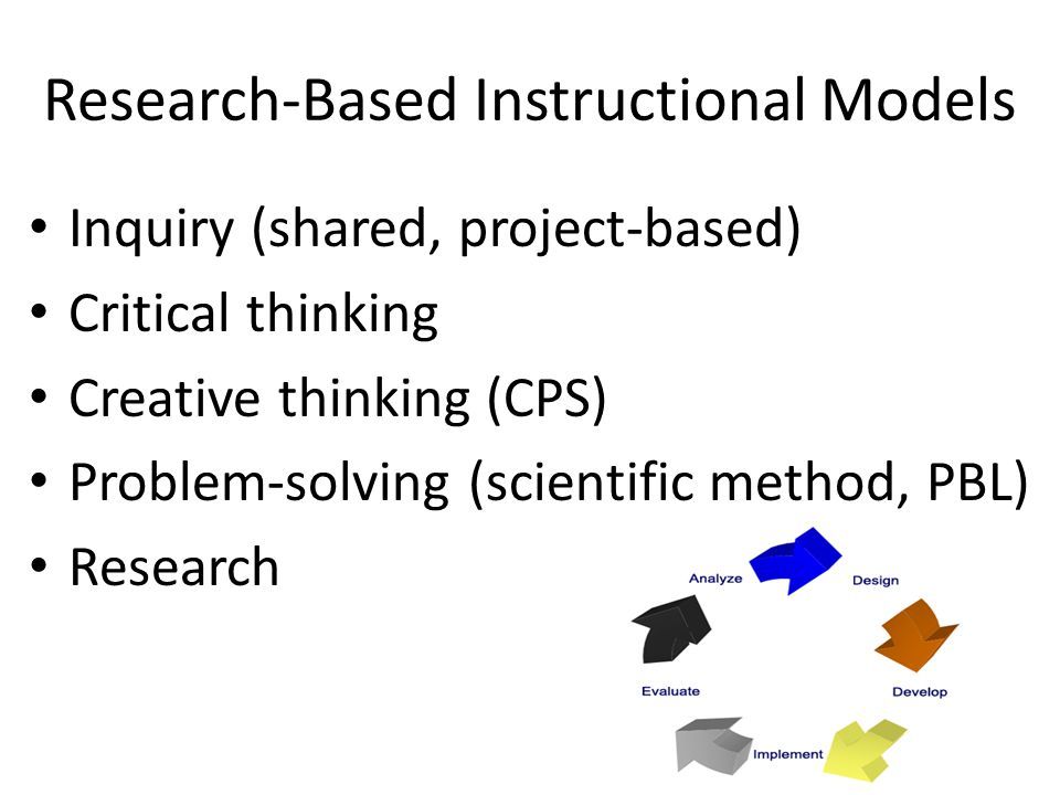 Research-Based Instructional Models Inquiry (shared, project-based) Critical thinking Creative thinking (CPS) Problem-solving (scientific method, PBL) Research