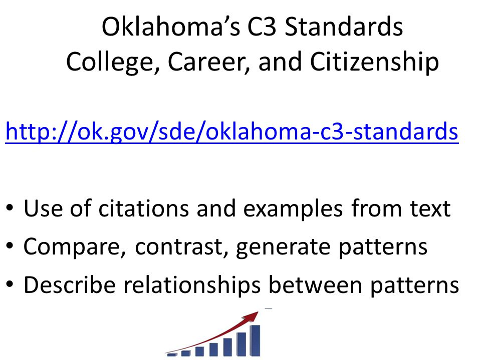 Oklahoma's C3 Standards College, Career, and Citizenship http://ok.gov/sde/oklahoma-c3-standards Use of citations and examples from text Compare, contrast, generate patterns Describe relationships between patterns
