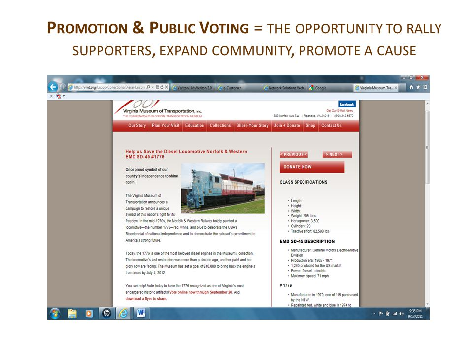 P ROMOTION & P UBLIC V OTING = THE OPPORTUNITY TO RALLY SUPPORTERS, EXPAND COMMUNITY, PROMOTE A CAUSE