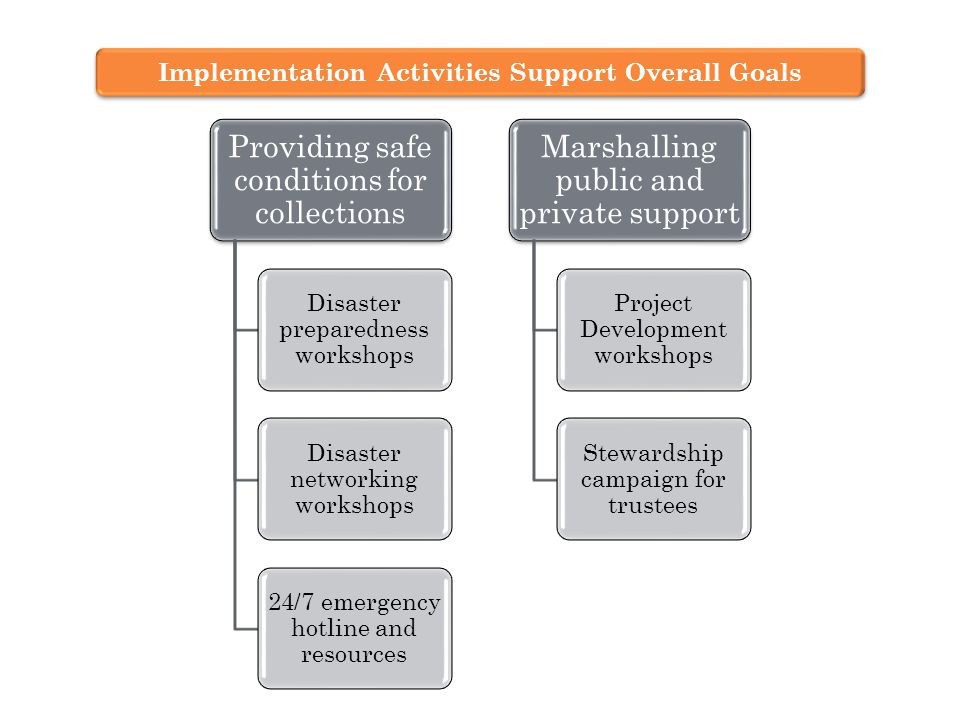 Providing safe conditions for collections Disaster preparedness workshops Disaster networking workshops 24/7 emergency hotline and resources Marshalling public and private support Project Development workshops Stewardship campaign for trustees Implementation Activities Support Overall Goals