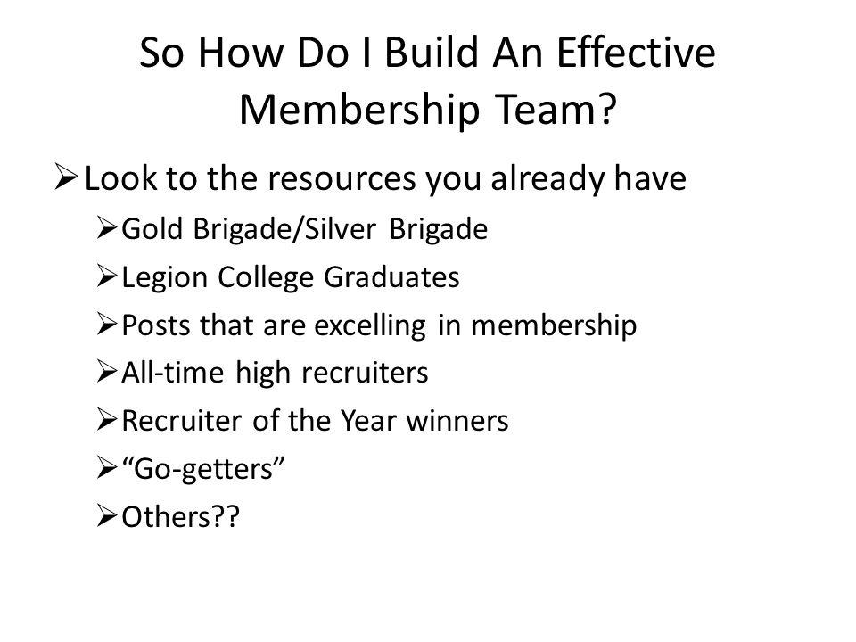 So How Do I Build An Effective Membership Team.