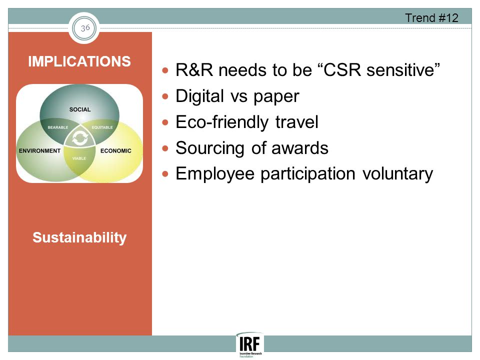 R&R needs to be CSR sensitive Digital vs paper Eco-friendly travel Sourcing of awards Employee participation voluntary IMPLICATIONS Sustainability 36 Trend #12