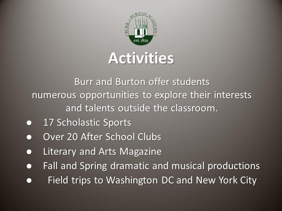 Activities Burr and Burton offer students numerous opportunities to explore their interests and talents outside the classroom. l 17 Scholastic Sports