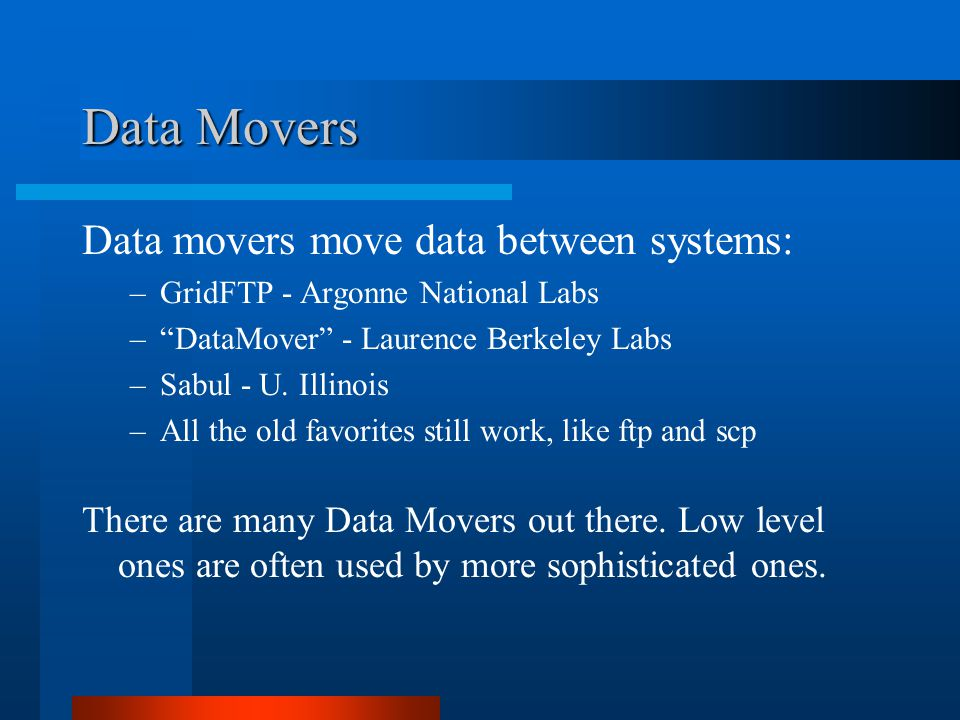 "Data Movers Data movers move data between systems: –GridFTP - Argonne National Labs –""DataMover"" - Laurence Berkeley Labs –Sabul - U. Illinois –All th"