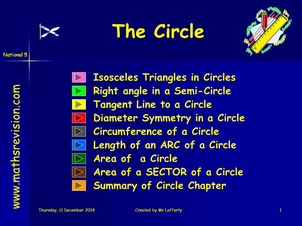 National 5 Thursday, 11 December 2014Thursday, 11 December 2014Thursday, 11 December 2014Thursday, 11 December 2014Created by Mr Lafferty12 Mark three points 1.Outside the circle x x x x x x x x x Semi-circle angle 2.