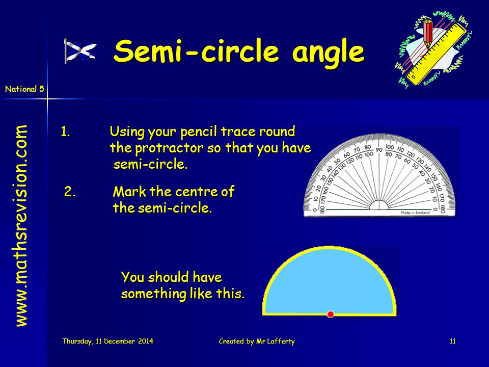 National 5 Thursday, 11 December 2014Thursday, 11 December 2014Thursday, 11 December 2014Thursday, 11 December 2014Created by Mr Lafferty11 1.Using your pencil trace round the protractor so that you have semi-circle.