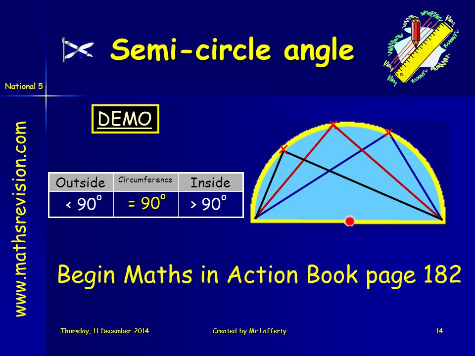 National 5 Thursday, 11 December 2014Thursday, 11 December 2014Thursday, 11 December 2014Thursday, 11 December 2014Created by Mr Lafferty14 Inside Circumference Outside x Semi-circle angle x x < 90 o > 90 o = 90 o Begin Maths in Action Book page 182 www.mathsrevision.com DEMO