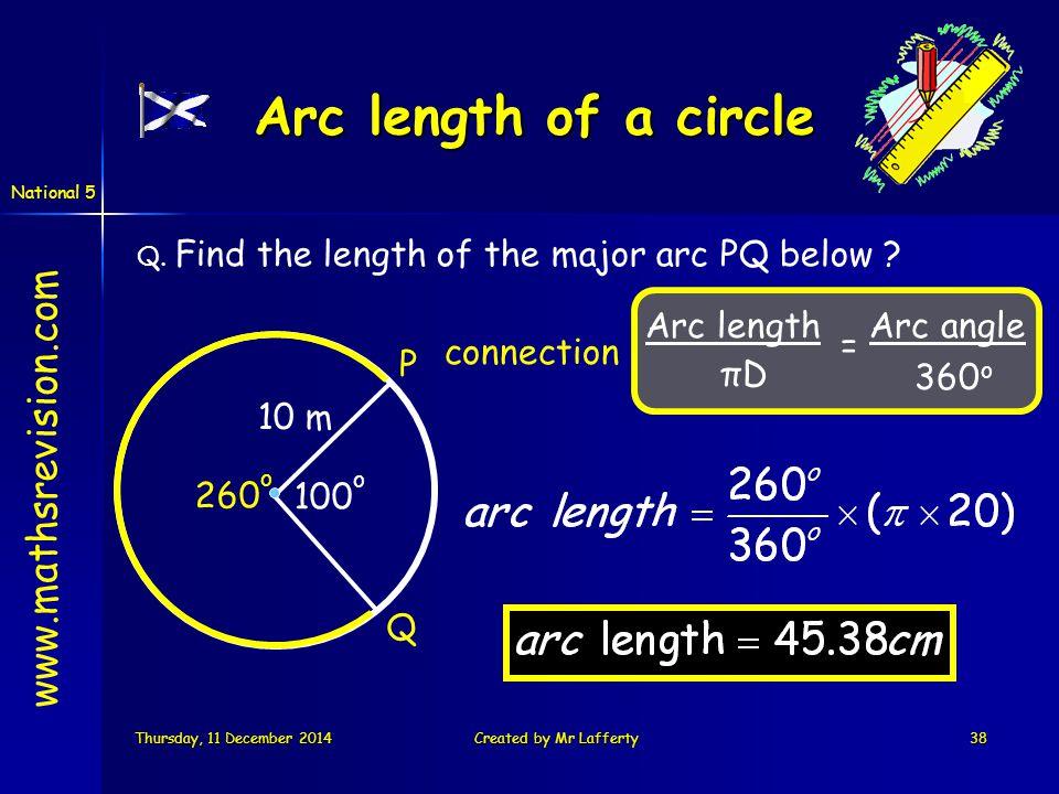 National 5 Thursday, 11 December 2014Thursday, 11 December 2014Thursday, 11 December 2014Thursday, 11 December 2014Created by Mr Lafferty38 www.mathsrevision.com Arc length of a circle Arc length πDπD Arc angle 360 o = Q.