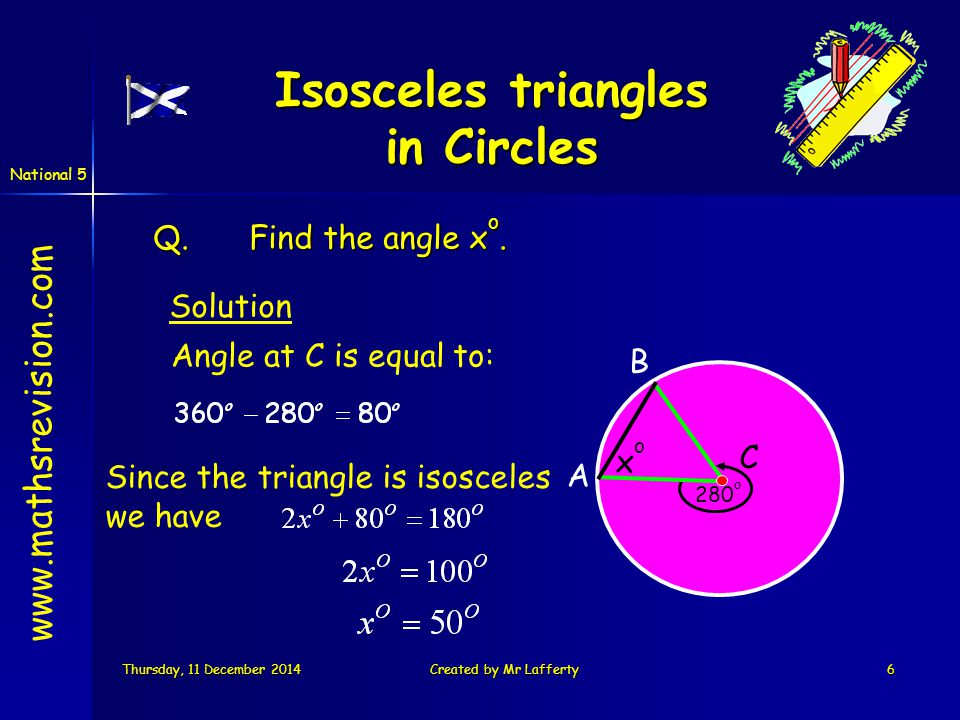 National 5 Thursday, 11 December 2014Thursday, 11 December 2014Thursday, 11 December 2014Thursday, 11 December 2014Created by Mr Lafferty27 Circumference of a circle Aim of Today's Lesson We are learning to use the formula for calculating the circumference of a circle www.mathsrevision.com
