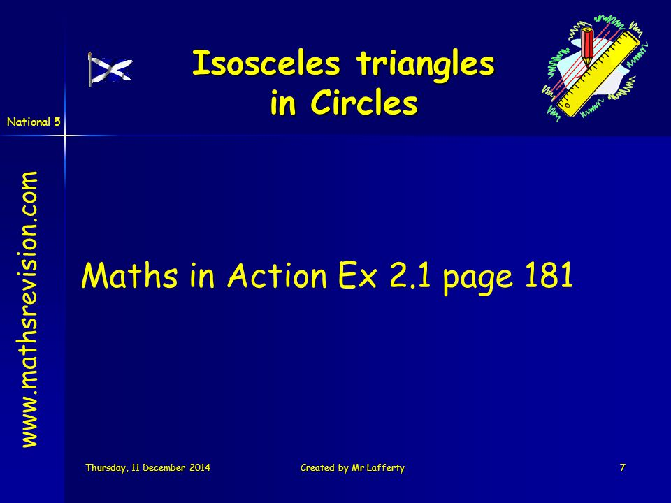 National 5 Thursday, 11 December 2014Thursday, 11 December 2014Thursday, 11 December 2014Thursday, 11 December 2014Created by Mr Lafferty18 Tangent line The radius of the circle that touches the tangent line is called the point of contact radius.