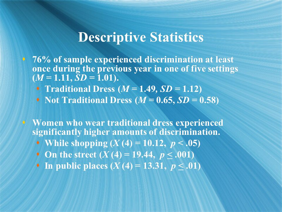 Descriptive Statistics  76% of sample experienced discrimination at least once during the previous year in one of five settings (M = 1.11, SD = 1.01).