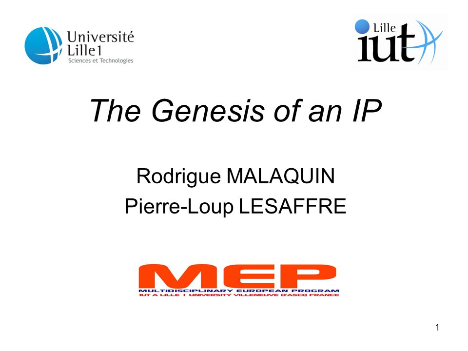 1 The Genesis of an IP Rodrigue MALAQUIN Pierre-Loup LESAFFRE