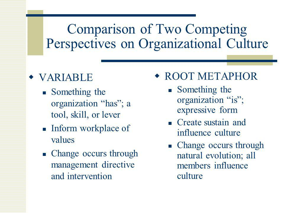Comparison of Two Competing Perspectives on Organizational Culture  VARIABLE Something the organization has ; a tool, skill, or lever Inform workplace of values Change occurs through management directive and intervention  ROOT METAPHOR Something the organization is ; expressive form Create sustain and influence culture Change occurs through natural evolution; all members influence culture