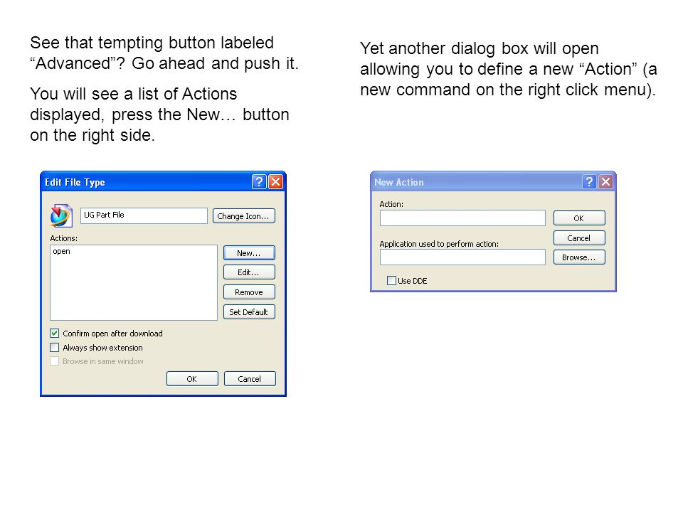 In the 'Action:' text box, enter the text you want to see in the right click menu.