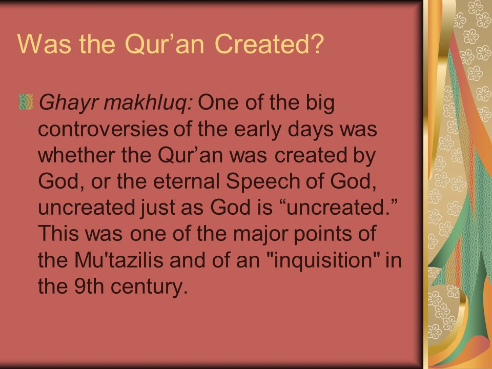 Was the Qur'an Created.