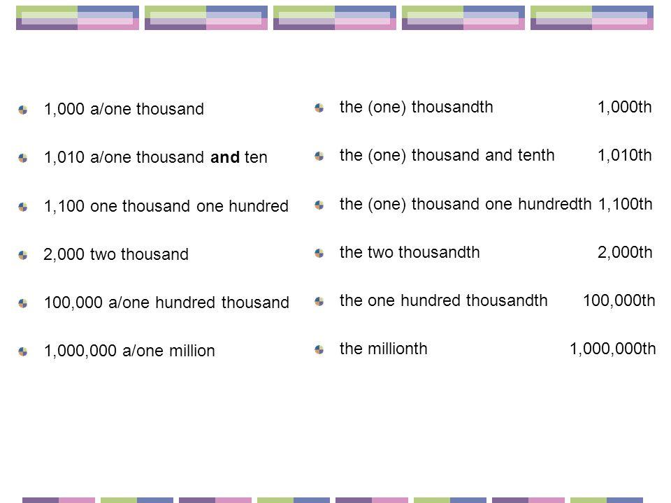 1,000 a/one thousand 1,010 a/one thousand and ten 1,100 one thousand one hundred 2,000 two thousand 100,000 a/one hundred thousand 1,000,000 a/one million the (one) thousandth 1,000th the (one) thousand and tenth 1,010th the (one) thousand one hundredth 1,100th the two thousandth 2,000th the one hundred thousandth 100,000th the millionth 1,000,000th