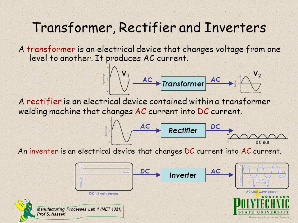 Manufacturing Processes Lab 1 (MET 1321) Prof S. Nasseri Transformer, Rectifier and Inverters A transformer is an electrical device that changes volta