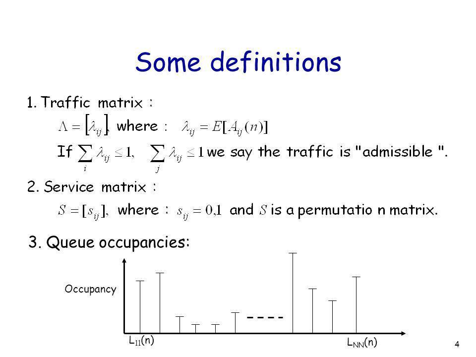 4 Some definitions 3. Queue occupancies: Occupancy L 11 (n) L NN (n)