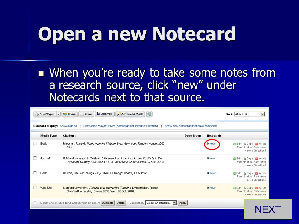 "Open a new Notecard When you're ready to take some notes from a research source, click ""new"" under Notecards next to that source. When you're ready to"