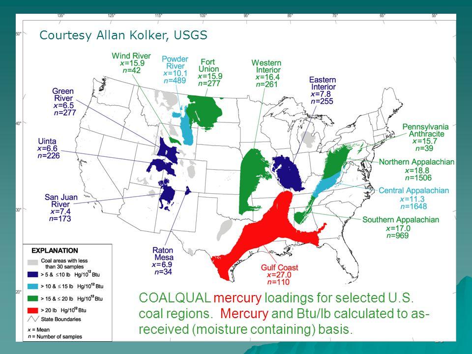 10 COALQUAL mercury loadings for selected U.S. coal regions.