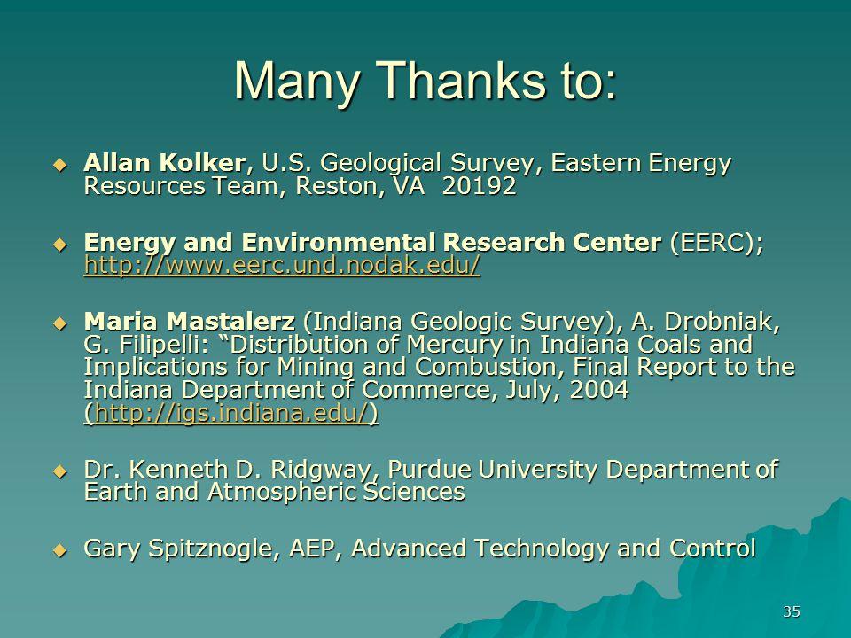 35 Many Thanks to:  Allan Kolker, U.S.