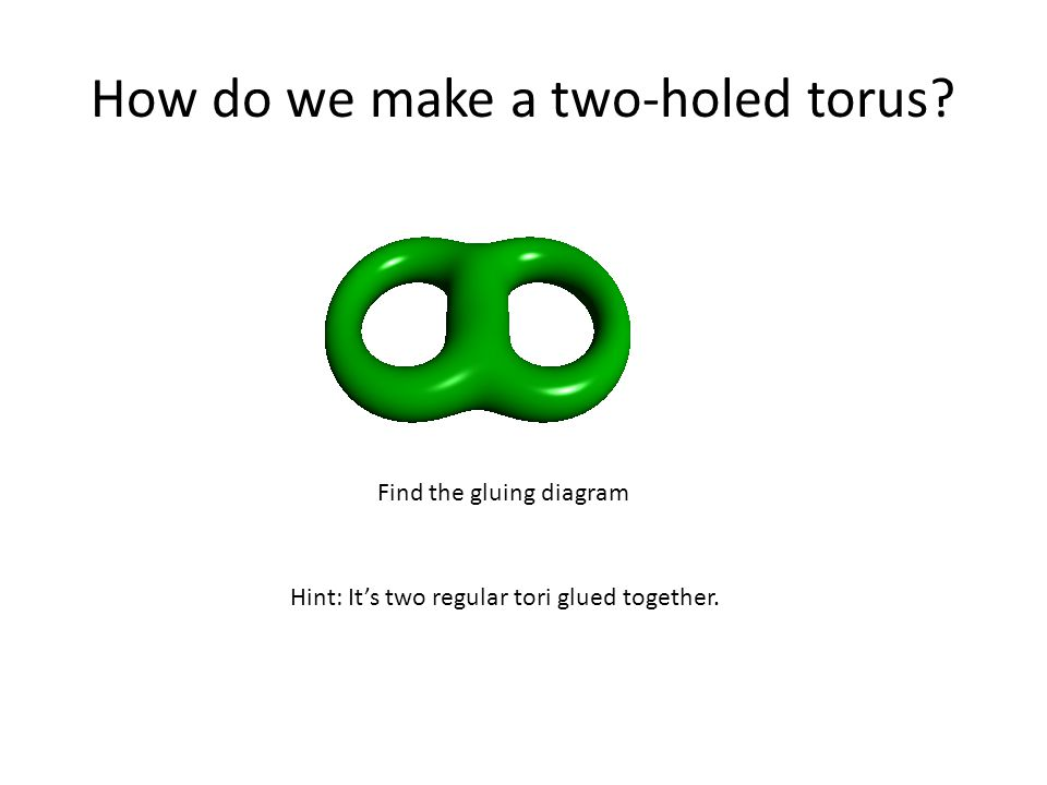 How do we make a two-holed torus. Hint: It's two regular tori glued together.