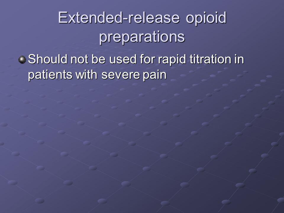 Extended-release opioid preparations Should not be used for rapid titration in patients with severe pain