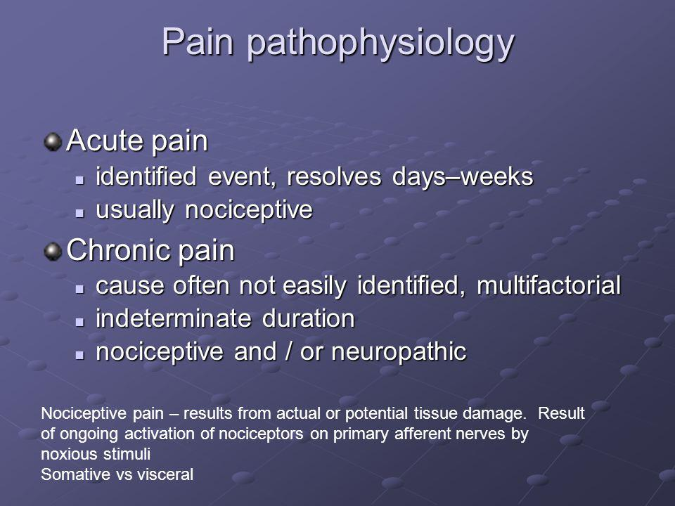 Pain pathophysiology Acute pain identified event, resolves days–weeks identified event, resolves days–weeks usually nociceptive usually nociceptive Ch