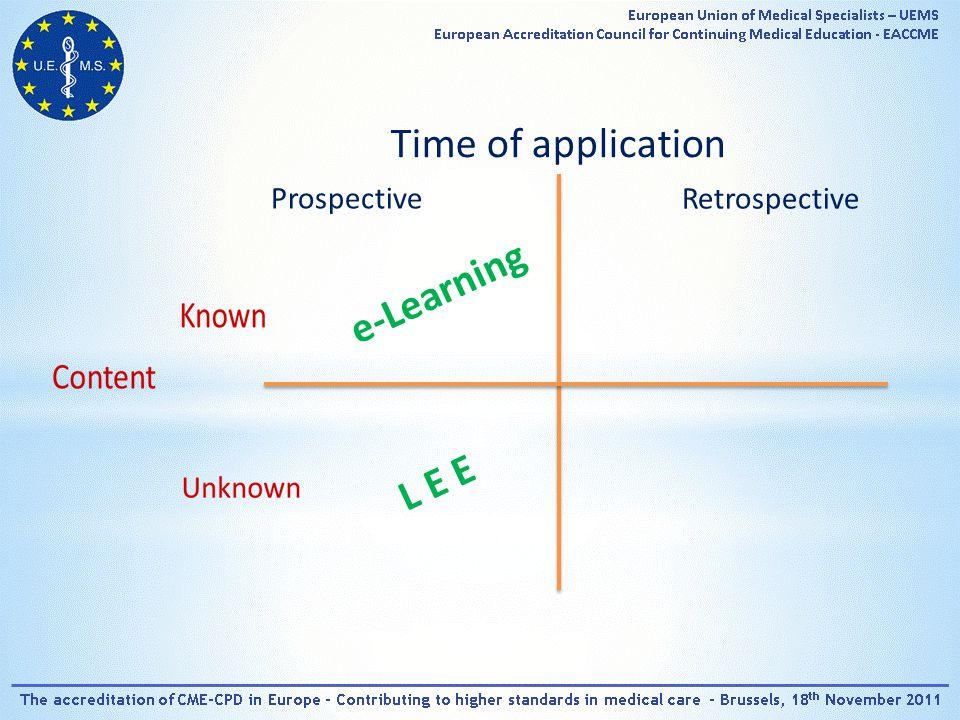 Time of application Prospective Retrospective e-Learning L E E