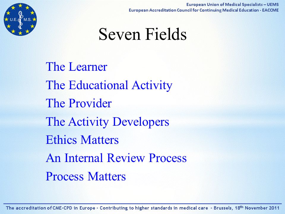 Seven Fields The Learner The Educational Activity The Provider The Activity Developers Ethics Matters An Internal Review Process Process Matters