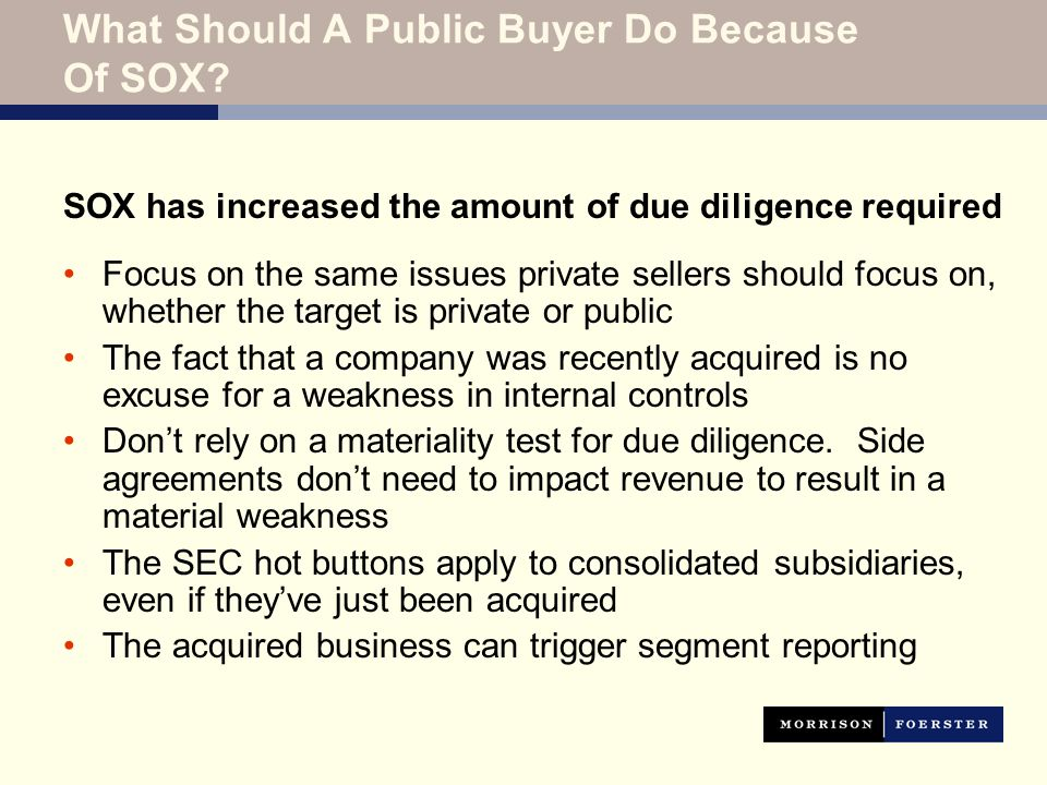 What Should A Public Buyer Do Because Of SOX.