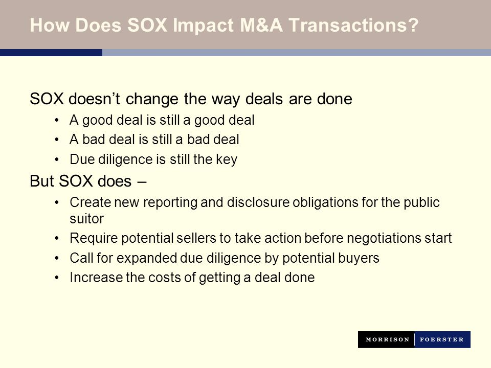 How Does SOX Impact M&A Transactions.