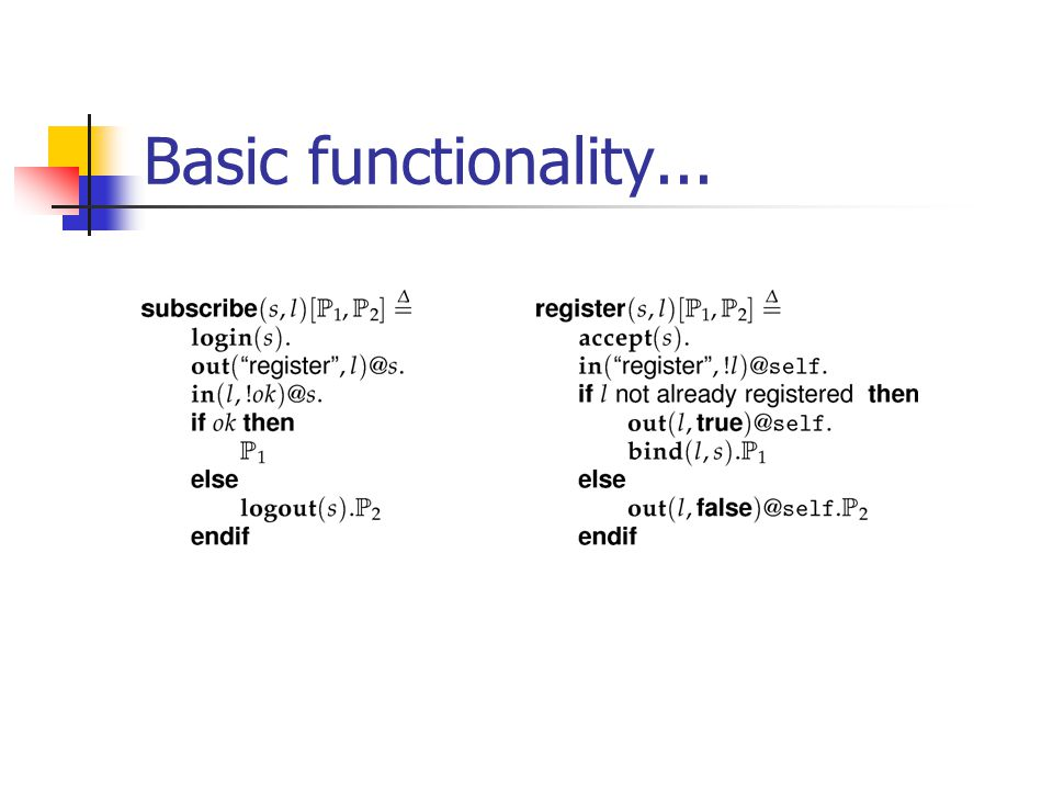 Basic functionality...