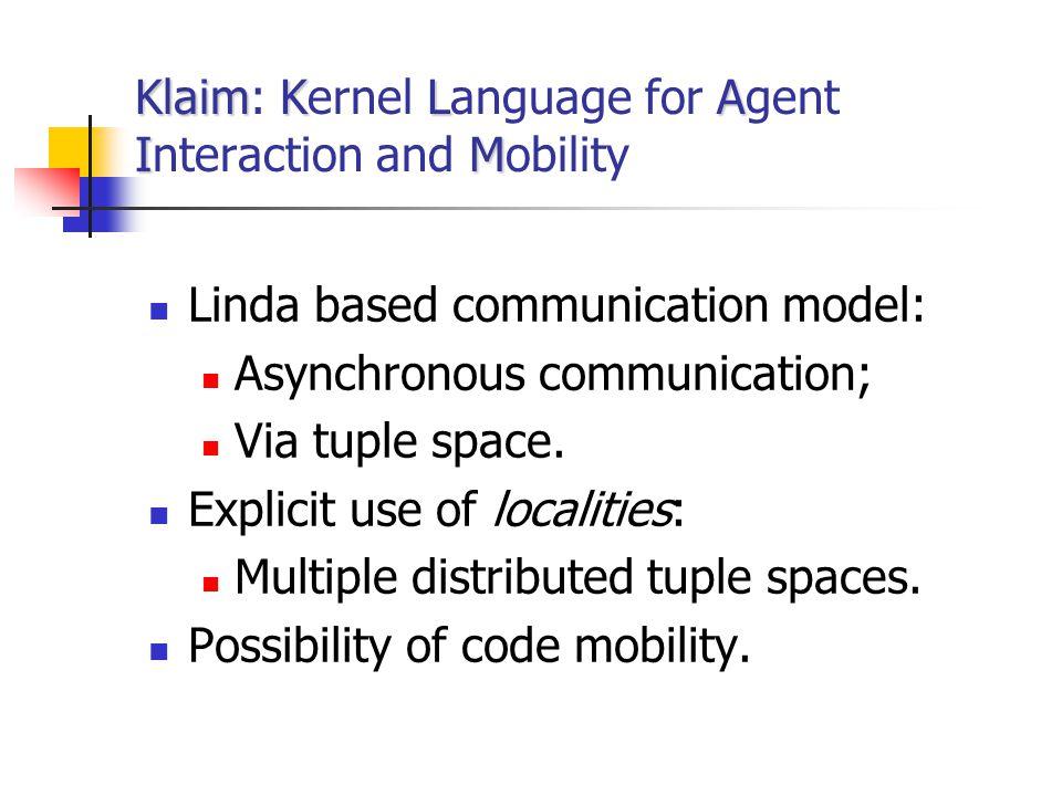 KlaimKLA IM Klaim: Kernel Language for Agent Interaction and Mobility Linda based communication model: Asynchronous communication; Via tuple space. Ex
