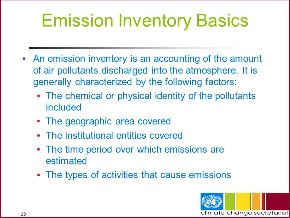 25 Emission Inventory Basics ▪An emission inventory is an accounting of the amount of air pollutants discharged into the atmosphere.
