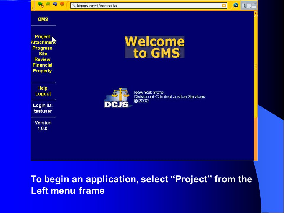 To begin an application, select Project from the Left menu frame