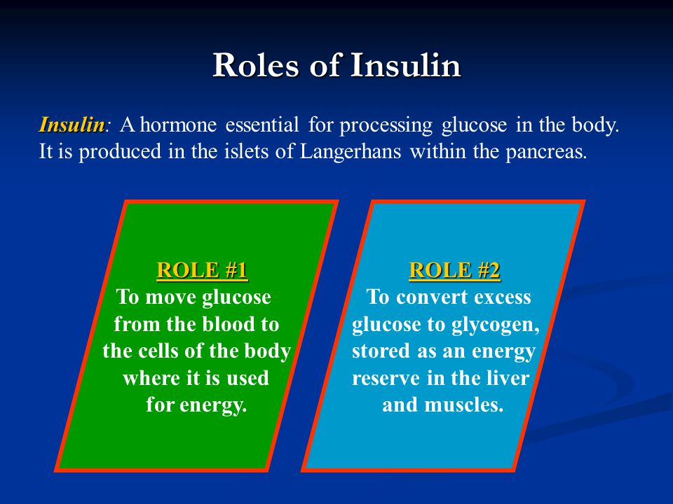 Roles of Insulin ROLE #1 ROLE #1 To move glucose from the blood to the cells of the body where it is used for energy. ROLE #2 ROLE #2 To convert exces