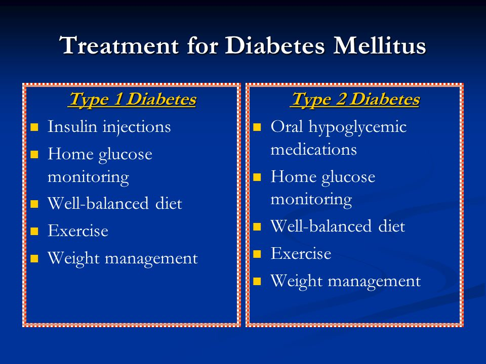 Treatment for Diabetes Mellitus Type 1 Diabetes Insulin injections Home glucose monitoring Well-balanced diet Exercise Weight management Type 2 Diabet