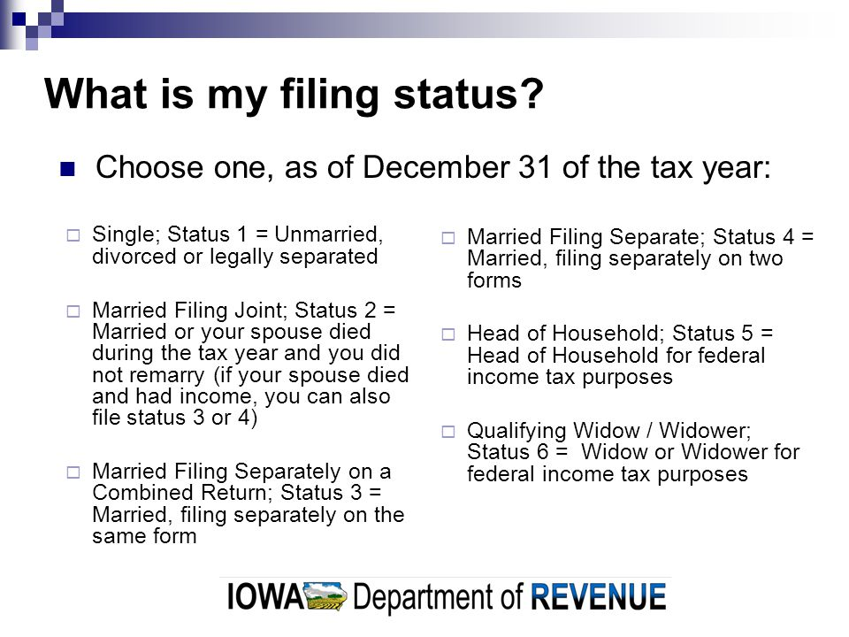 What is my filing status.