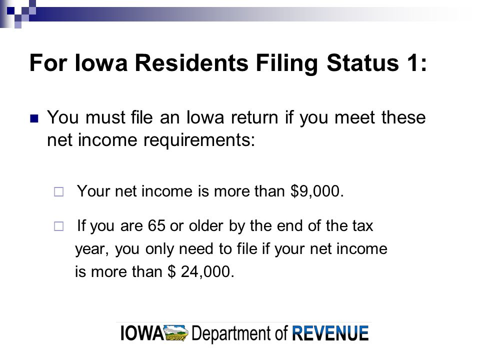 For Iowa Residents Filing Status 2, 3, 4, 5, or 6: The income of both spouses must be included when determining if you must file.