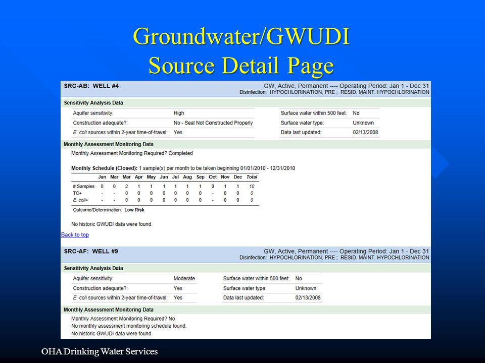 OHA Drinking Water Services Groundwater/GWUDI Source Detail Page