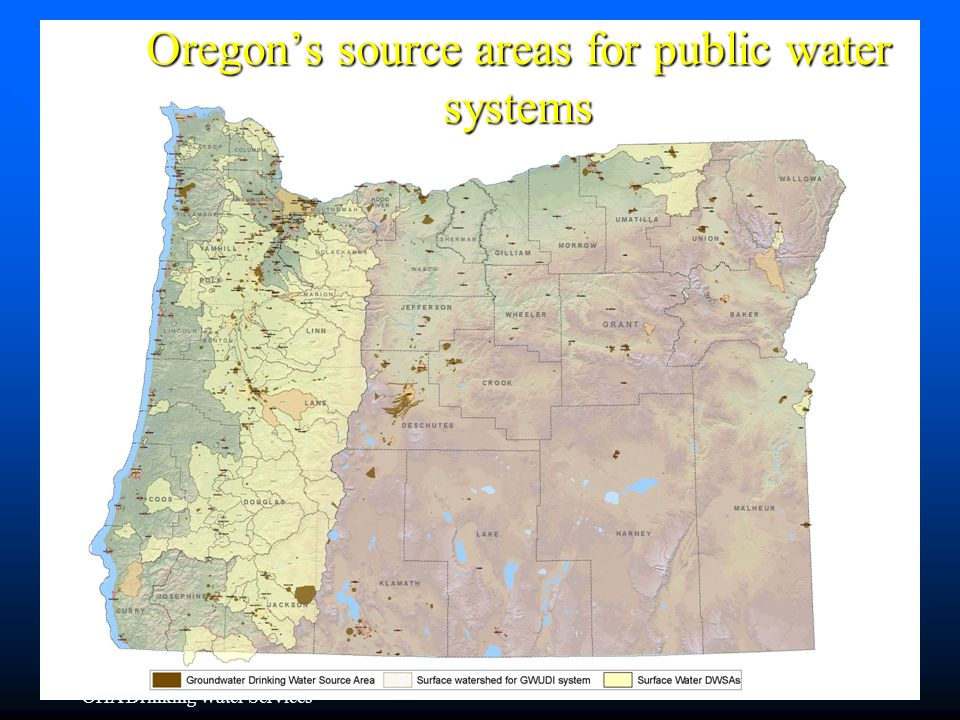 OHA Drinking Water Services Oregon's source areas for public water systems 33